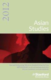Asian Studies - Stanford University Press