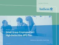 Small Group EmployeeElect High-Deductible EPO Plan - Anthem