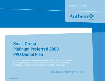 Small Group Platinum Preferred 2000 PPO Dental Plan - Anthem