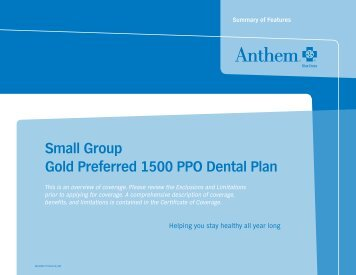 Small Group Gold Preferred 1500 PPO Dental Plan - Anthem