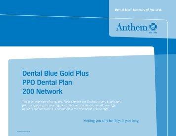 Dental Blue Gold Plus PPO Dental Plan 200 Network - Anthem