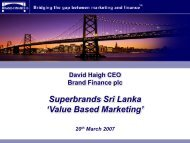 Value Based Marketing - Superbrands
