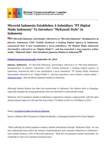 "MicroAd Indonesia Establishes A Subsidiary ""PT Digital Moda Indonesia"" To Introduce ""MyKawaii Style"" in Indonesia"