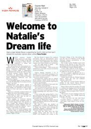 Natalie's Dream life - Courier Mail (14 May 2011) - Queensland ...