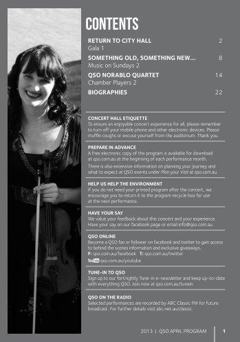 April 2013 - Queensland Symphony Orchestra