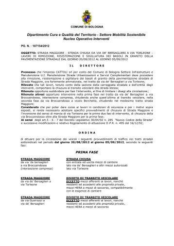 Dipartimento Cura e Qualità del Territorio - Settore Mobilità ...