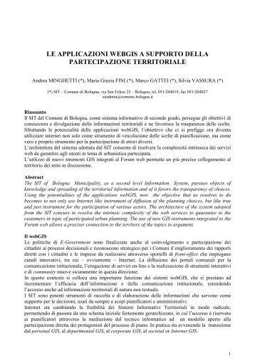 le applicazioni webgis a supporto della partecipazione territoriale