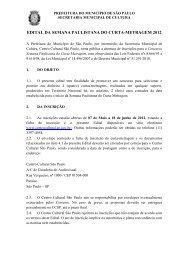 EDITAL DA SEMANA PAULISTANA DO CURTA-METRAGEM 2012