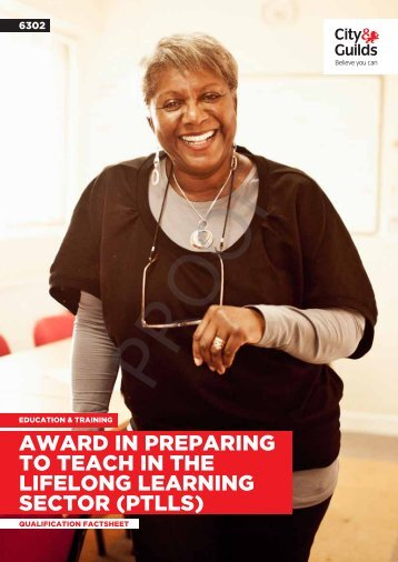 award in preparing to teach in the lifelong learning ... - City & Guilds