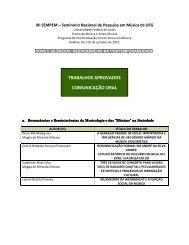 trabalhos aprovados comunicação oral - Mestrado em Música e ...
