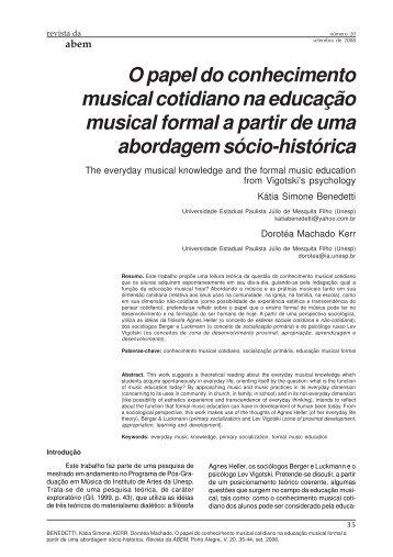 O papel do conhecimento musical cotidiano na educação - ABEM