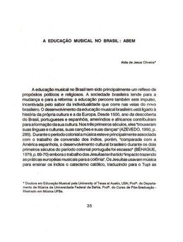 A educação musical no Brasil: ABEM (artigo em pdf)