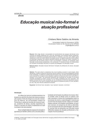 Educação musical não-formal e atuação profissional - ABEM