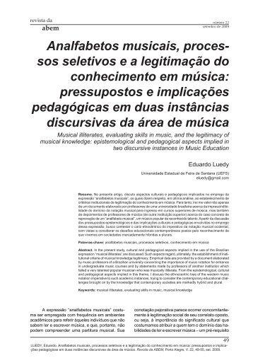 Analfabetos musicais, processos seletivos ea legitimação ... - ABEM