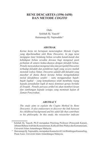 RENE DESCARTES (1596-1650) DAN METODE COGITO