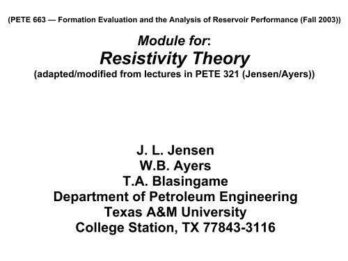 WELL LOGGING Pete 608 - Harold Vance Department of Petroleum