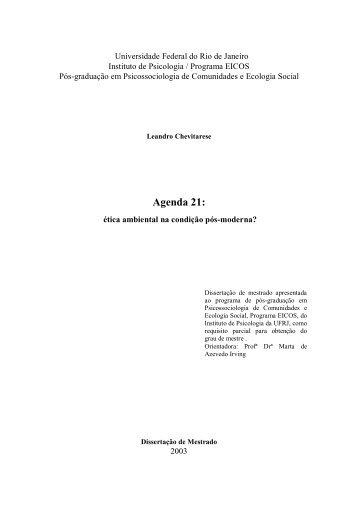 Agenda 21 - Instituto de Psicologia da UFRJ
