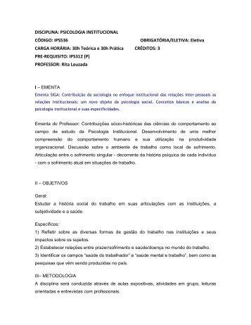 Geovana, segue o programa da disciplina de 2010-2 - Instituto de ...