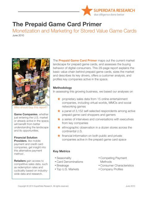 The Prepaid Game Card Primer - SuperData Research
