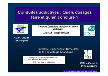 Conduites addictives : Quels dosages faire et qu'en conclure