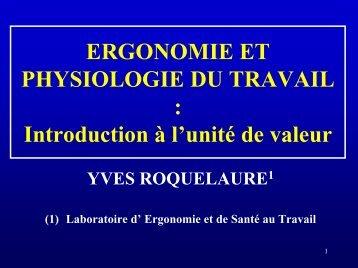 Ergonomie et physiologie du travail - Université d'Angers