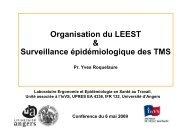 Présentation d'Yves Roquelaure - Université d'Angers