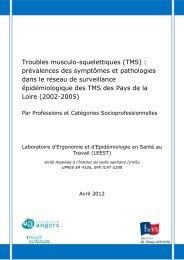 Prévalences des symptômes et pathologies - Université d'Angers