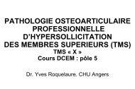 Pathologie ostéoarticulaire professionnelle d'hypersollicitation des ...