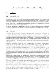 Erreurs et Incertitudes en Physique-Chimie au Collège - Université d ...