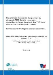 Prévalences des scores d'exposition au risque de TMS dans le ...