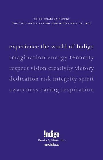 experience the world of Indigo imagination energy tenacity respect ...