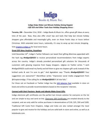Indigo Helps Make Last Minute Holiday Giving Happier - Gift SOS ...