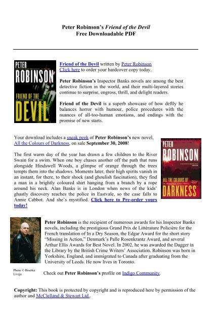 Peter Robinson's Friend of the Devil Free Downloadable PDF