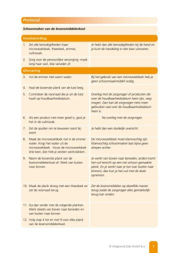 Protocol: Schoonmaken van de levensmiddelenkast - Factor-E