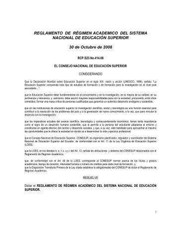 reglamento academico para el nivel técnico y tecnológico del