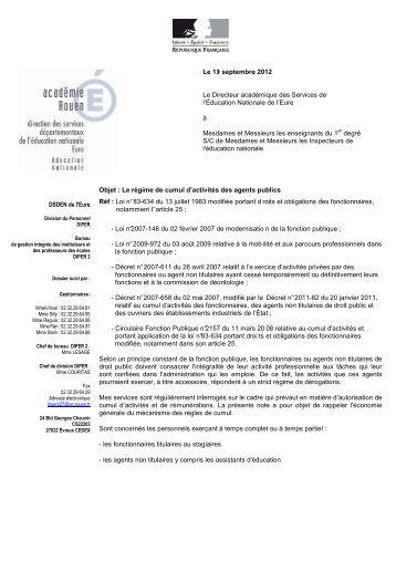 régime de cumul d'activités des agents publics 2012-2013 - Eure