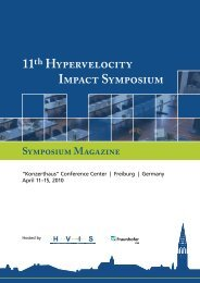 11th Hypervelocity Impact Symposium - Faculty of Arts and Sciences ...