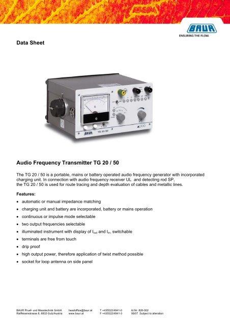 TG 20/50 - HV TECHNOLOGIES, Inc