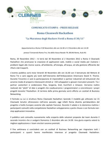 comunicato stampa - Cleanweb Italy