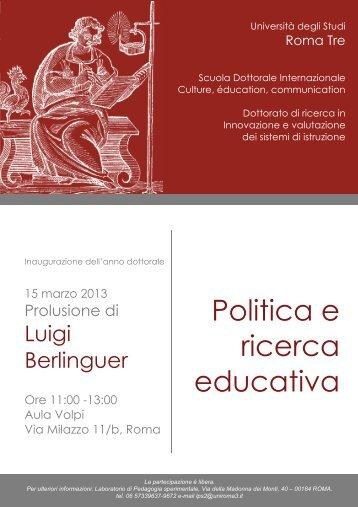 Politica e ricerca educativa - GINA - Università degli Studi Roma Tre