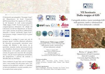 Dalla mappa al GIS - GINA - Università degli Studi Roma Tre