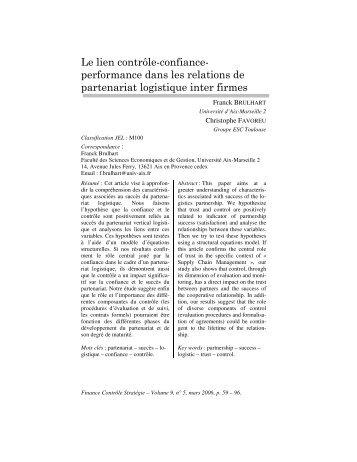Le lien contrôle-confiance- performance dans les relations de ...