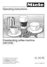 Operating instructions Freestanding coffee machine CM ... - Miele.ca