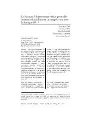 La banque à forme coopérative peut-elle soutenir durablement la ...