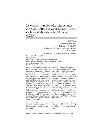 Le consortium de recherche comme stratégie collective agglomérée ...