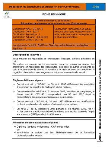ANSEJ - Réparation de chaussures et articles en cuir (Cordonnerie)