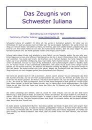 Das Zeugnis von Schwester Iuliana - Divine Revelations