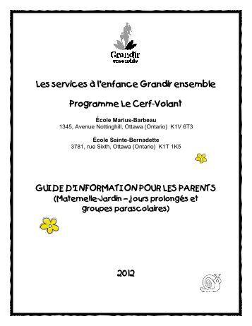 Guide d'information pour parents - services à l'enfance Grandir ...