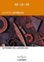 ACTIVITÉS CULTURELLES - musée des Confluences