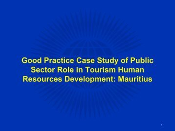 Good Practice Case Study of Public Sector Role in Tourism Human ...